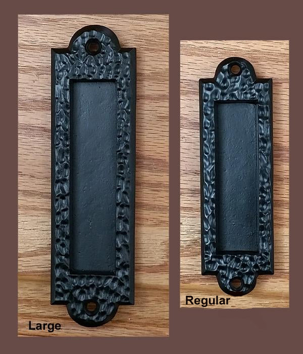 Flush Pull, Finger Pull Handle with Distressed, Pitted Look, Black - Wild West Hardware