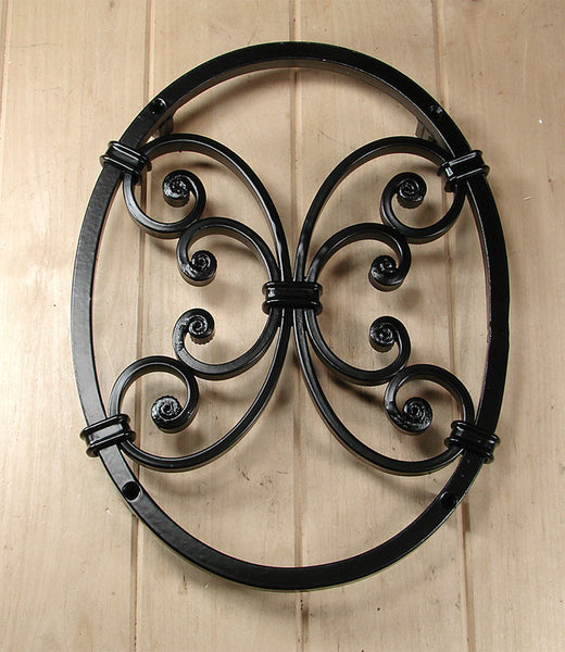 Oval Speakeasy Window Grille With Decorative Scroll Work