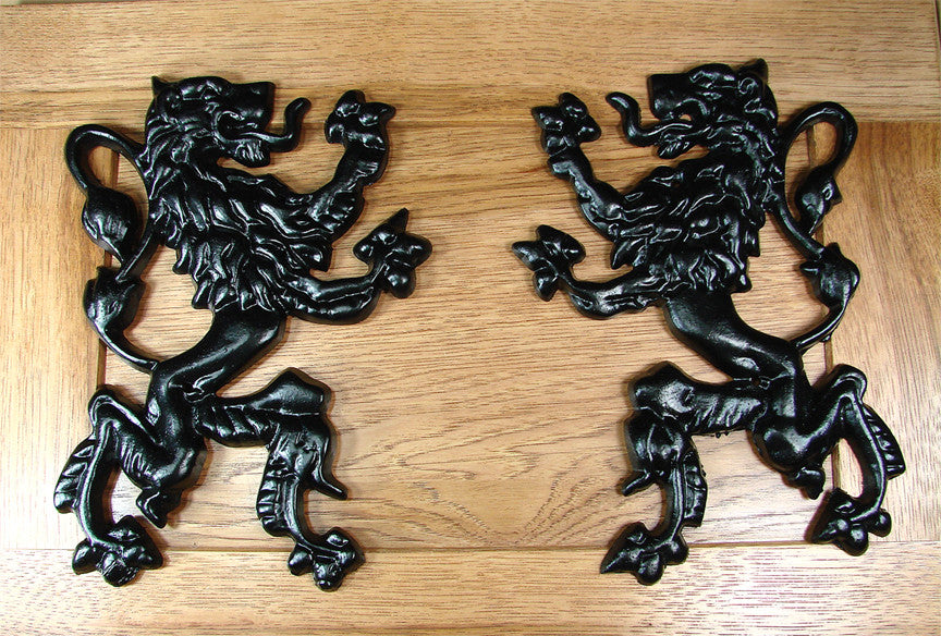 Pair of Rampant Lions Decorations - Black Powder Coat finish - Wild West Hardware