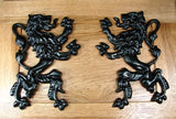 Pair of Rampant Lions Decorations - Black Powder Coat finish