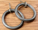 "Hammered Rustic Ring Pull (4"" ring) with eye lag screw mount"