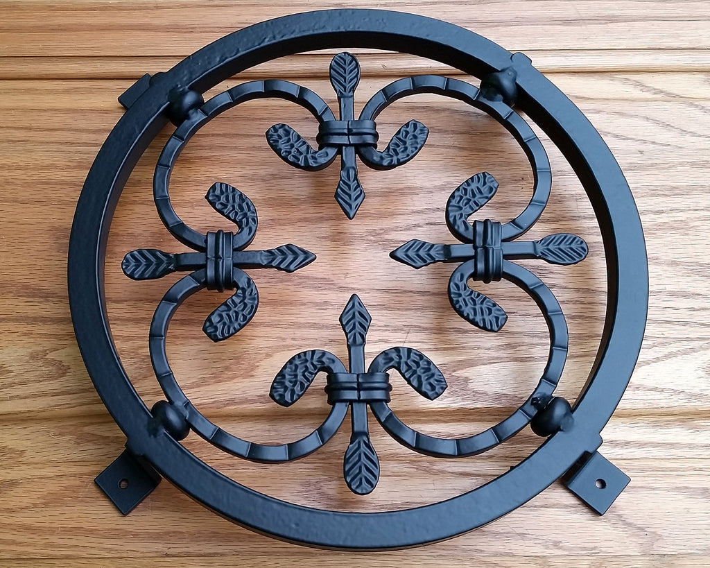 Forged Steel Grille / Window Grille / with inset decorative spear type rosette