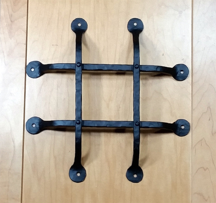 "Premium Flat Tipped Speakeasy Grille  - Size: 12"" x 12""  4 Bars, Black Powder Coat finish - Wild West Hardware"
