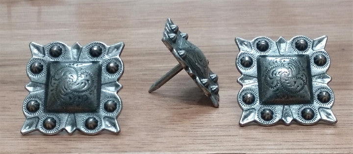 "Square STUDDED Style Clavos, 1 1/4"" x 1 1/4"" - Antique Silver finish - Wild West Hardware"