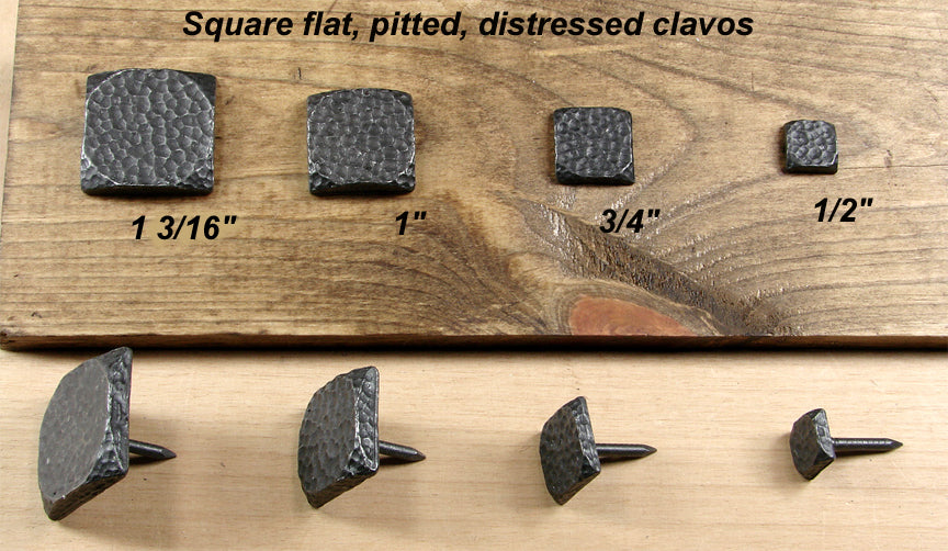 Premium Square Flat Clavos with pitted distressed look