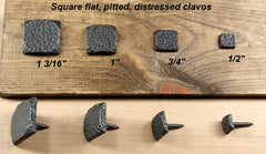 Premium Square Flat Clavos with pitted distressed look - Wild West Hardware