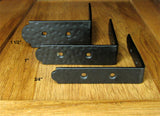 "Rustic, hammered Table Edge Corner Bracket - 1"" high  (incl Rustic Head screws) - Wild West Hardware"