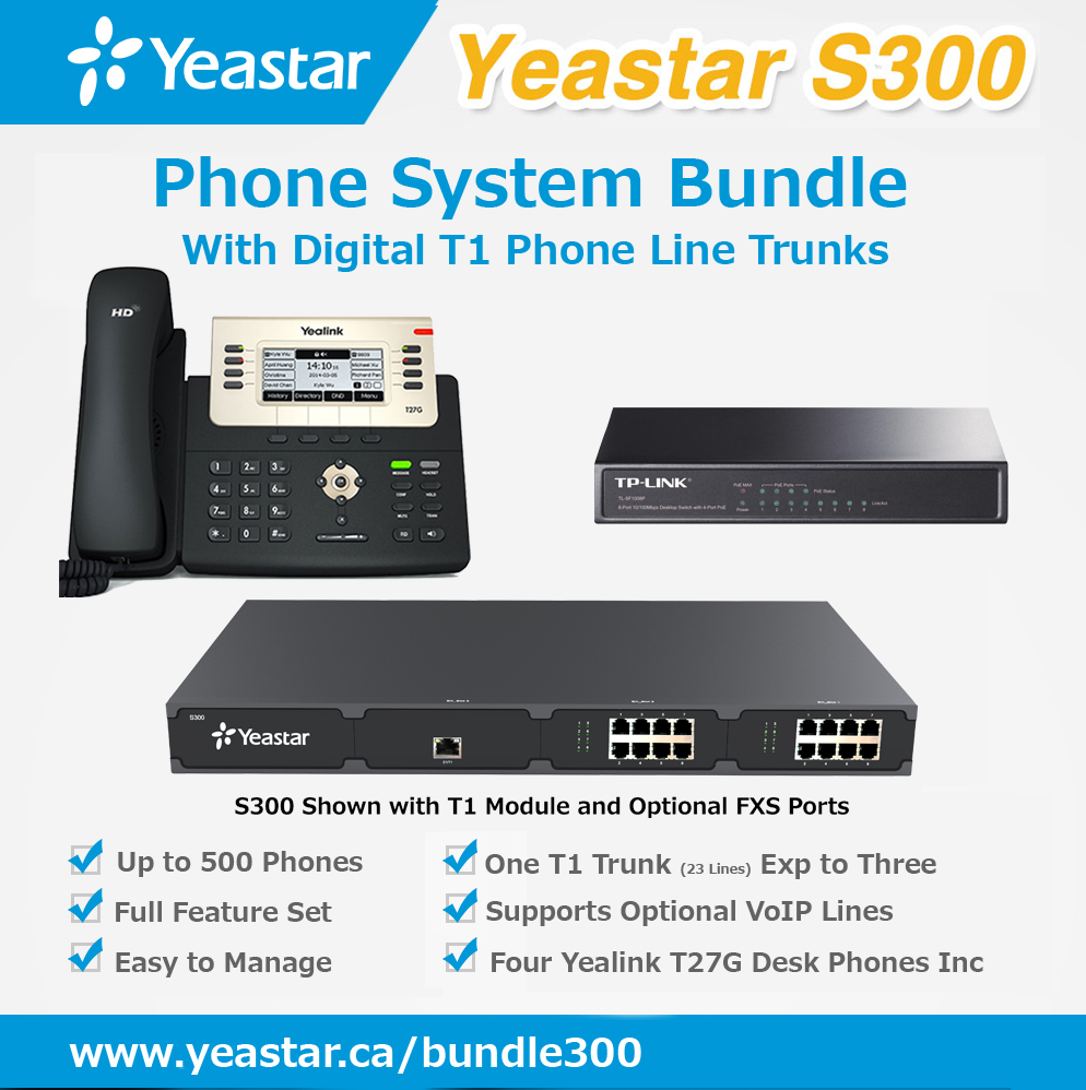 Digital T1 Phone System Bundle for Non-VoIP Phone Lines and up to 500 phones