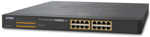 16 Port PoE Gigabit Network Switch |  Planet GSW-1600hp