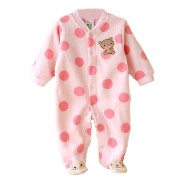 0-12M Autumn Fleece Baby Rompers Cute Pink Baby Girl Boy Clothing Infant Baby Girl Clothes Jumpsuits Footed Coverall V20C - PetitePeople