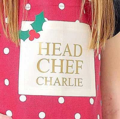 Personalised spotty christmas apron - PetitePeople