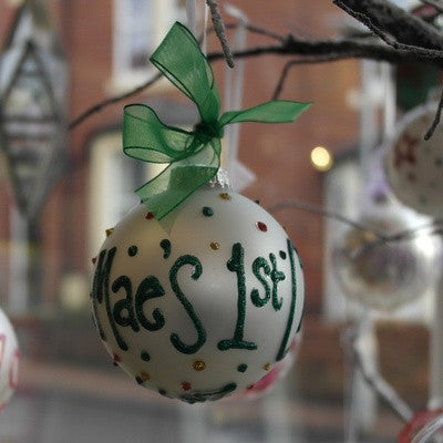 Personalised Christmas Bauble White - PetitePeople