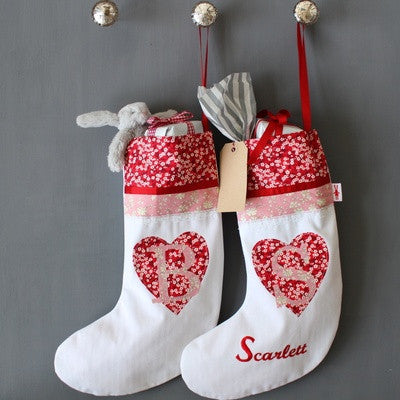 PERSONALISED HEART & LETTER GIRLS CHRISTMAS STOCKING - PetitePeople