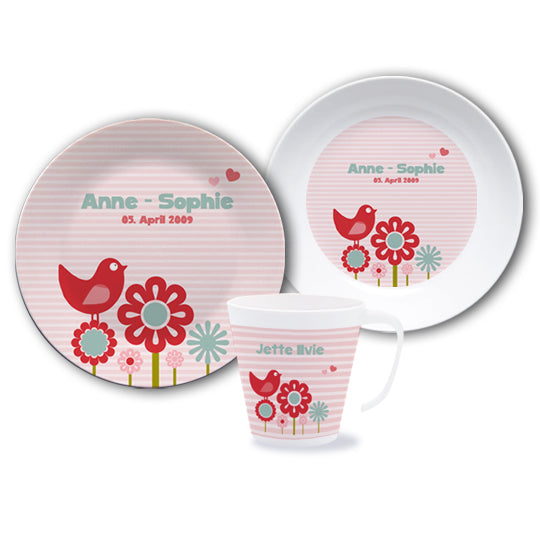 Set of dishes with the name Piep rosa - PetitePeople