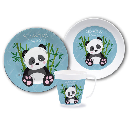 Panda tableware set with name - PetitePeople