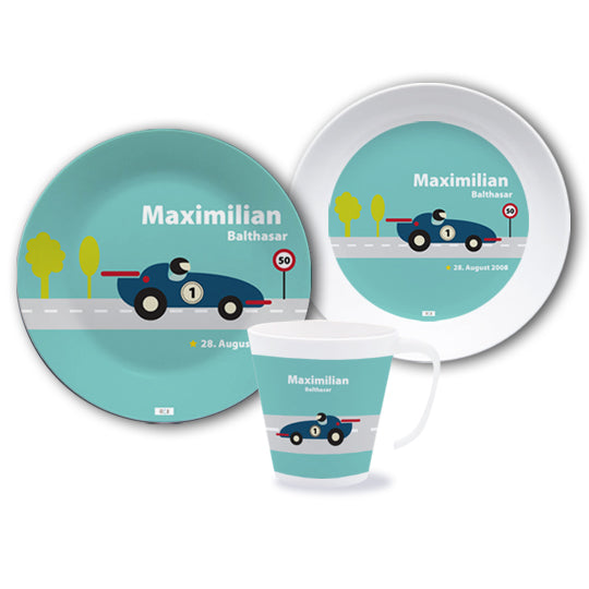 Crockery set with name formula racing car - PetitePeople
