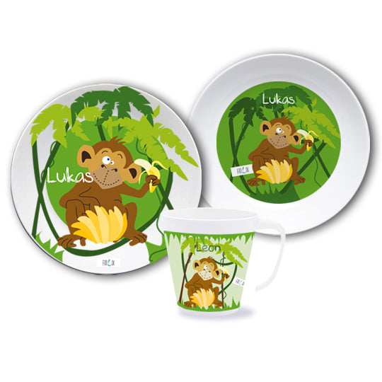Dish set with name Monkey - PetitePeople