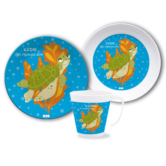 Melamine set for children turtle - PetitePeople