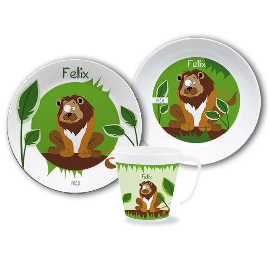 Set of dishes with the name Lion - PetitePeople