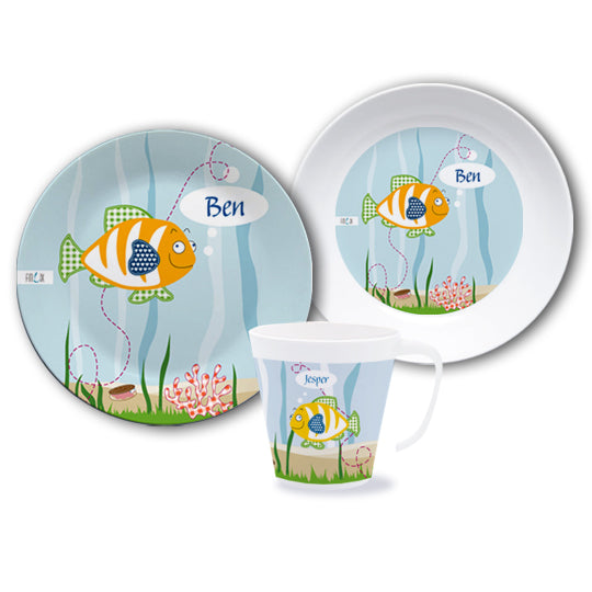 Cookware set with name fish - PetitePeople