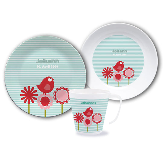 Dish set with name Matz blue - PetitePeople