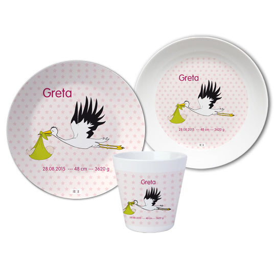Crockery set for baptism - Stork pink - PetitePeople