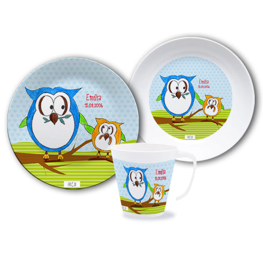 Crockery set with name owls - PetitePeople