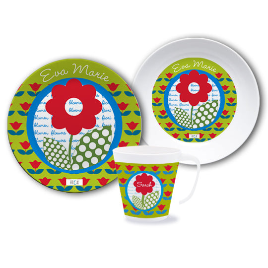Crockery set with name flower - PetitePeople