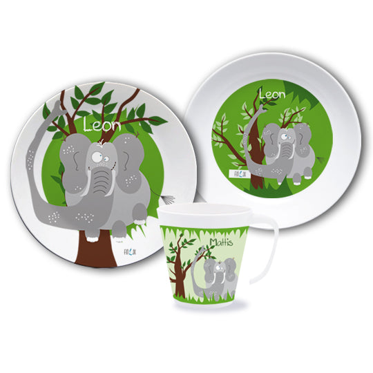 Crockery set with name Elefant - PetitePeople