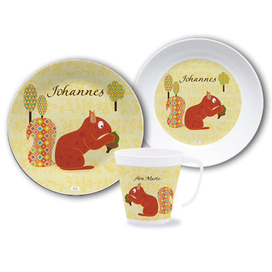 Crockery set with name Floral Squirrel - PetitePeople