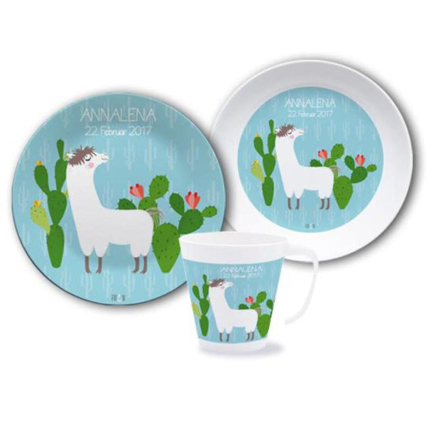 Children 's dinnerset with names - Lama - PetitePeople