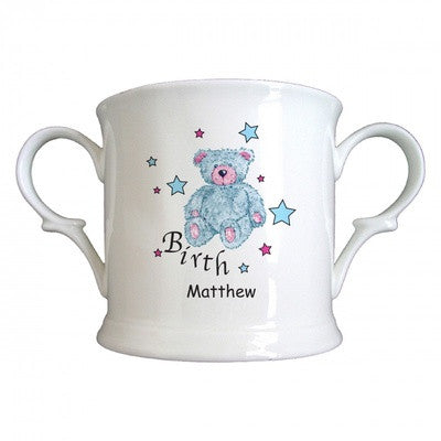 Personalized Teddy & Stars Blue Birth Bone China Loving Cup - PetitePeople