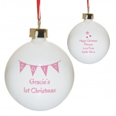 Pink Bunting Christmas Bauble - PetitePeople