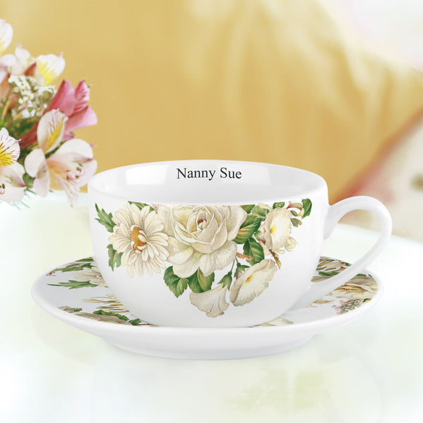 White Floral Cup and Saucer - PetitePeople
