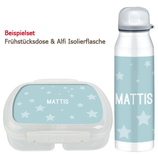School set can and bottle of stars blue - PetitePeople