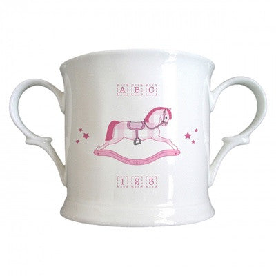 Personalized Pink Rocking Horse Bone China Loving Cup - PetitePeople