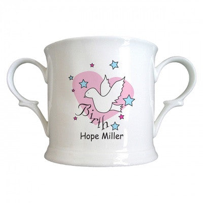 Personalized Dove & Hearts Pink Birth Bone China Loving Cup - PetitePeople
