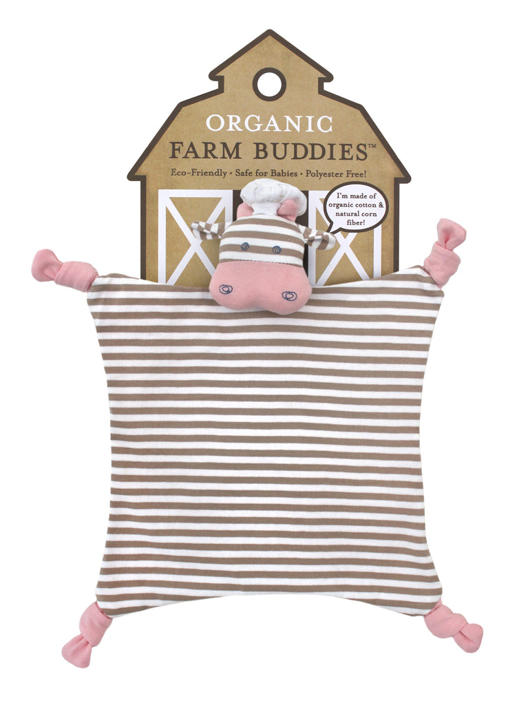 Organic Farm Buddies - security blanket 100% Organic Chef Cow - PetitePeople