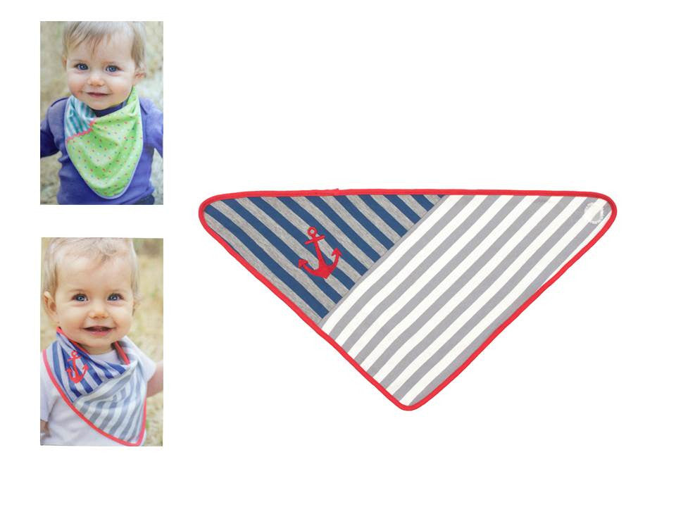 Organic Farm Buddies - bandana 100% Organic Grey stripes - PetitePeople