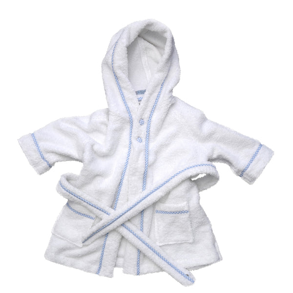 Personalized bathrobe, similar to the Prince George robe. Badekåbe hvid med blå kant