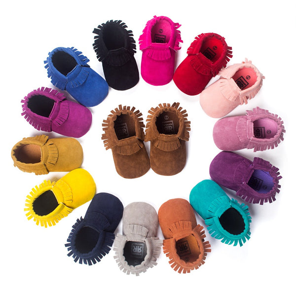 PU Suede Leather Newborn Baby Boy Girl Baby Moccasins Soft Moccs Shoes Bebe Fringe Soft Soled Non-slip Footwear Crib Shoes - PetitePeople
