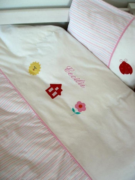 Baby bedding with name, Girl striped - PetitePeople