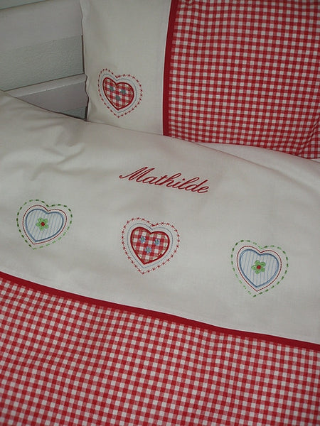 Baby bedding with name, girl, Red checkered - PetitePeople