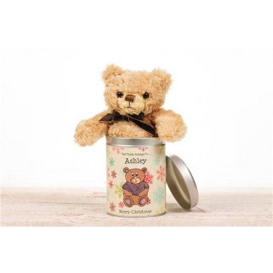 Personalised Christmas Teddy in a tin - PetitePeople