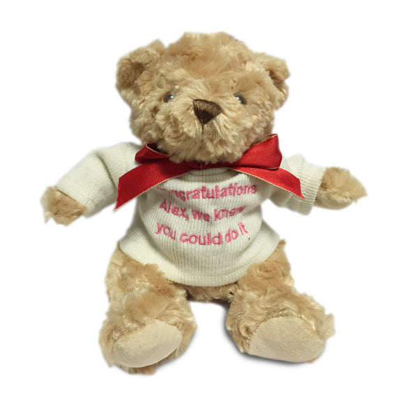 Brown Teddy Bear with Embroidered Cream Jumper - PetitePeople