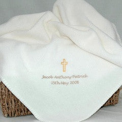 Personalised Cream Fleece Christening Blanket - PetitePeople
