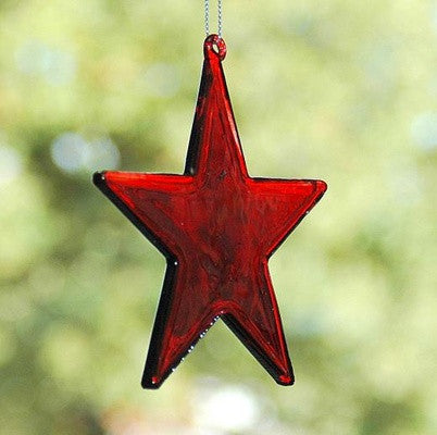 Personalised Red glass star hanging decoration - PetitePeople