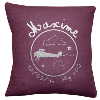 Personalized Linen Cushion Eggplant - PetitePeople