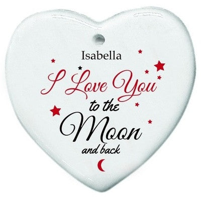 Personalized To the moon & Back Heart Shaped Tree Decoration - PetitePeople