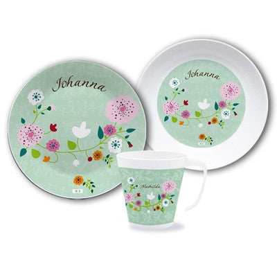 Personalized Dinnerware Set Floral Mint  sc 1 st  personalized baby gifts & Time to eat | Personalised Dinner Sets Plates Custom Mugs ...
